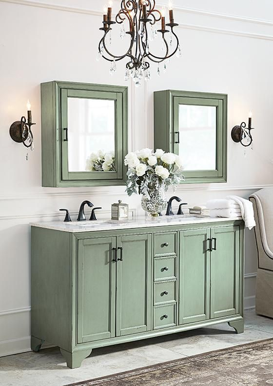 Merveilleux Home Decorators Collection Hazelton 61 In. D Double Bath Vanity In Antique  Green With Marble Vanity Top In   The Home Depot