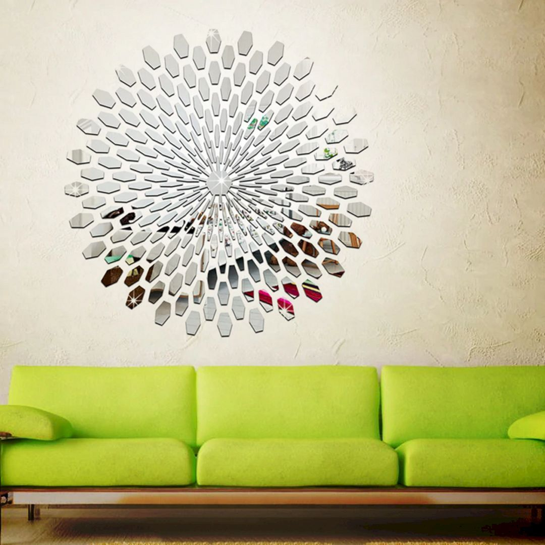 14 Diy Modern Wall Decoration Ideas For Stunning Living Room Diy Wall Design Modern Wall Decor Mirror Wall Stickers