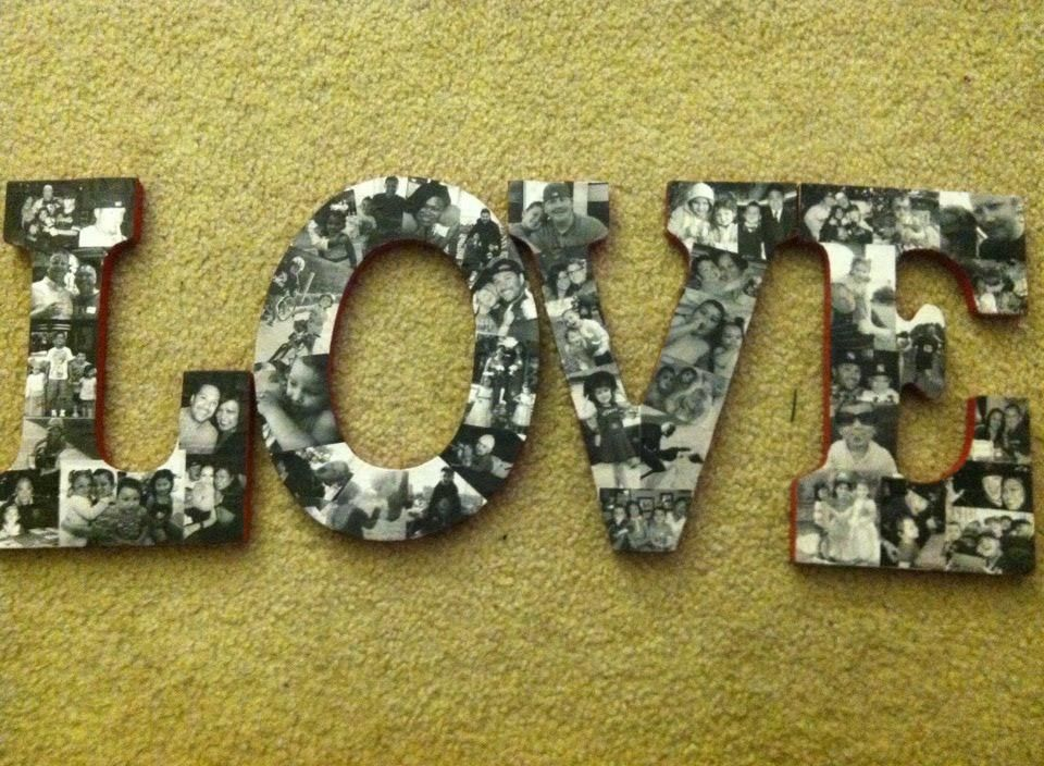 Take pictures of your family mod podge them onto wood letters