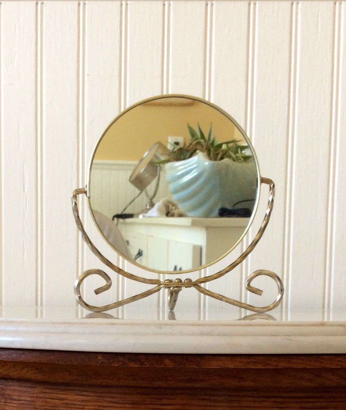 Vintage double sided vanity mirror on stand makeup mirror