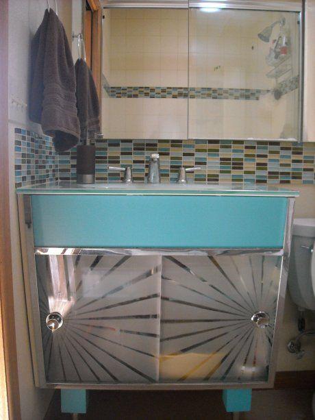 Kerriu0027s Atomic Bathroom Vanity   Before U0026 After   Retro Renovation
