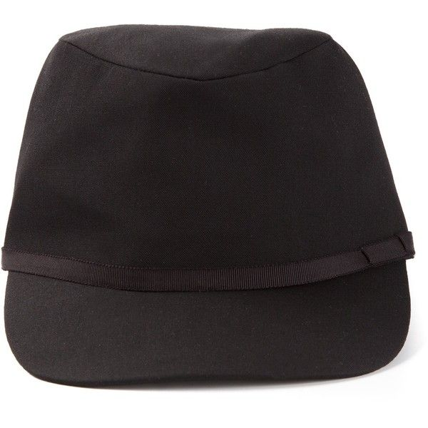 YOHJI YAMAMOTO peaked cap ($339) ❤ liked on Polyvore featuring accessories, hats, black wool hat, wool hat, wool cap, yohji yamamoto and black cap