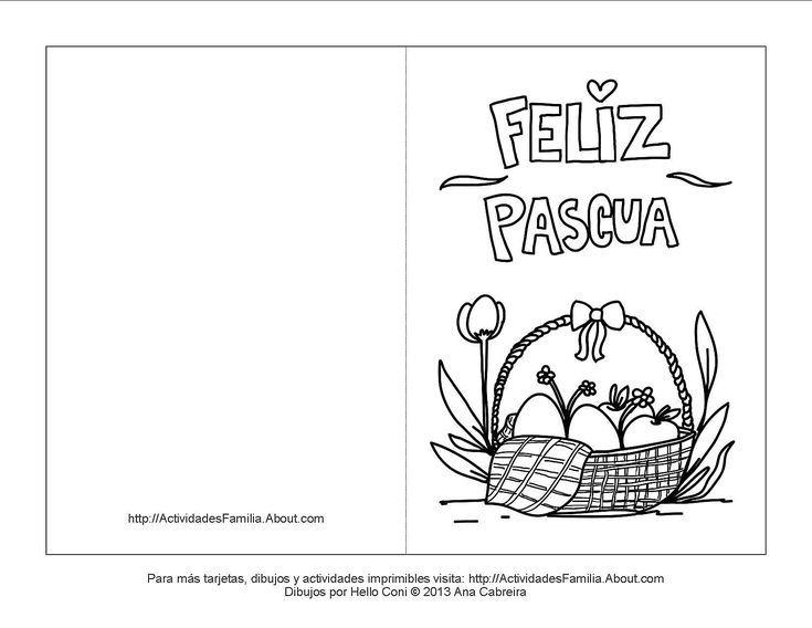Tarjetas de pascua de resurrección para colorear: Tarjeta de canasta ...