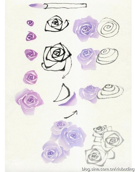 Hand painted techniques 2 doodles drawing coloring for How to paint a rose in watercolor step by step