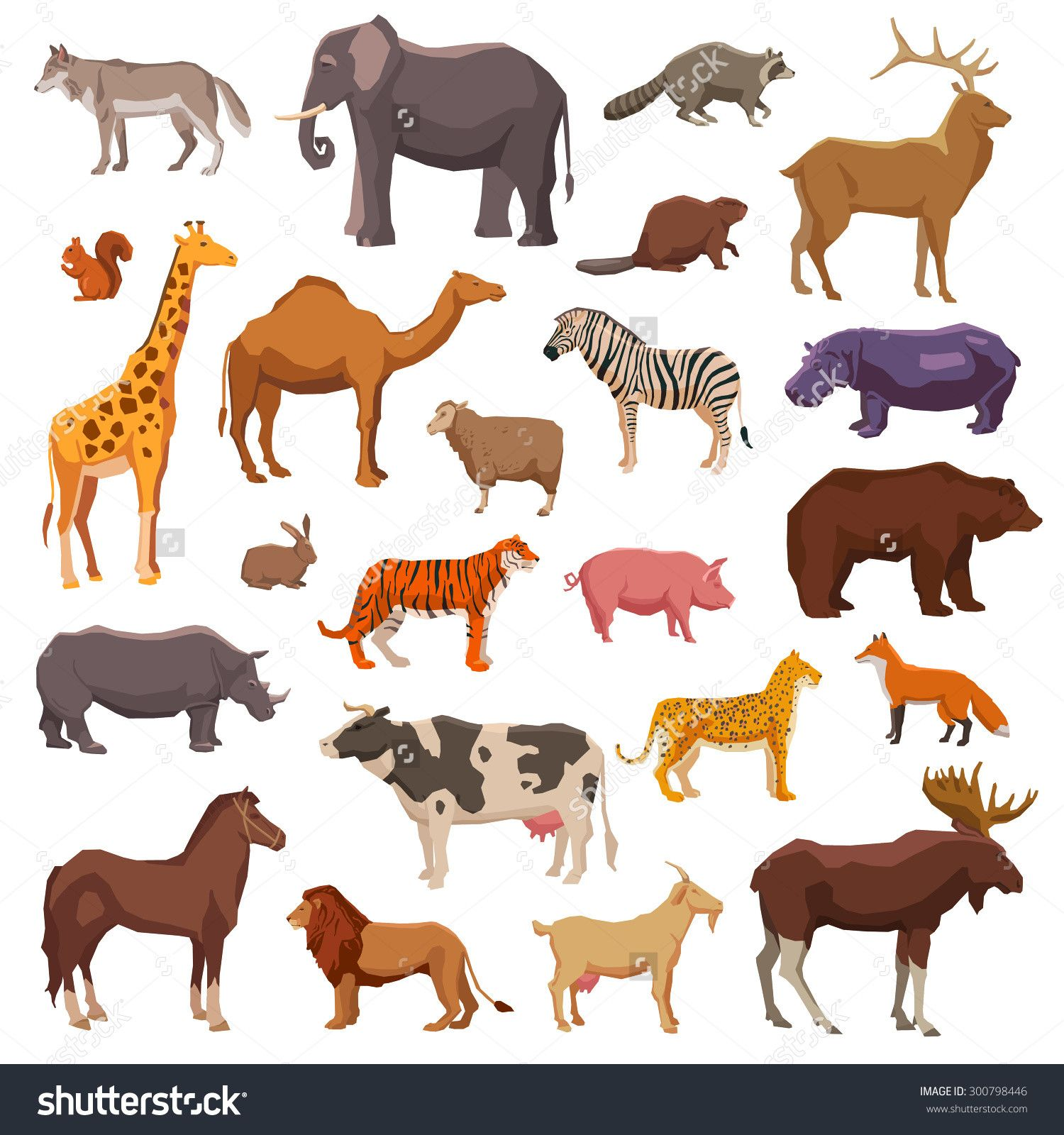 Stock Vector Big Wild Domestic And Farm Animals Decorative