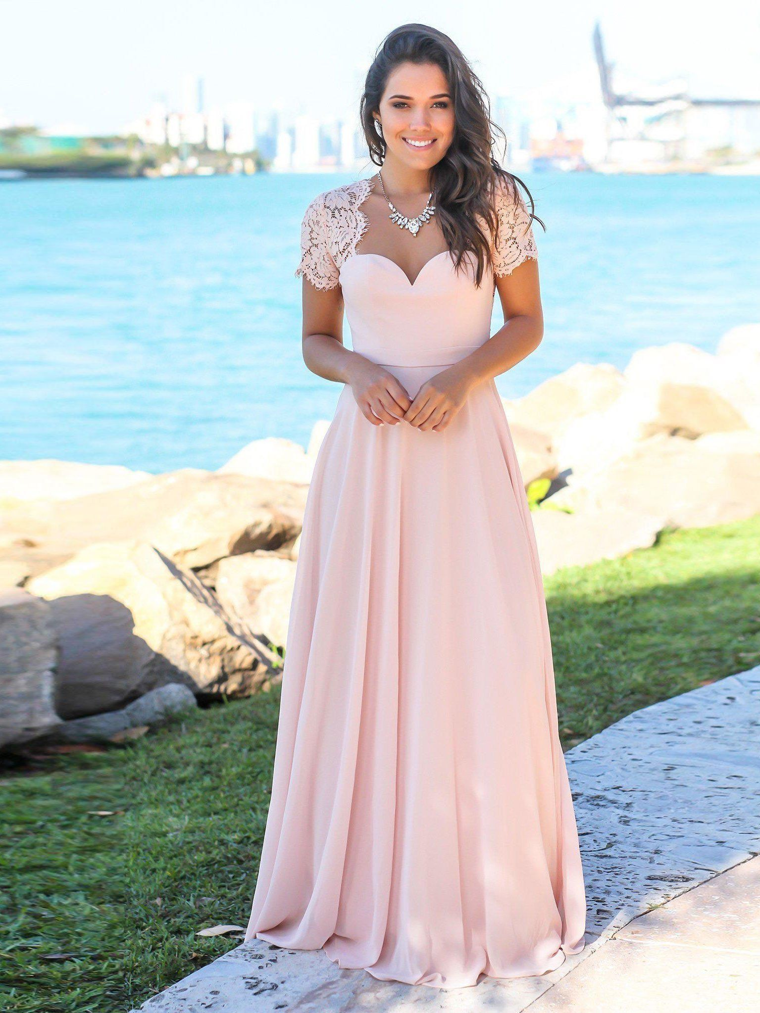 Dresses to wear to a destination wedding as a guest  Blush Pink Formal Maxi Dresses Open Back Lace Sleeve Beach Wedding