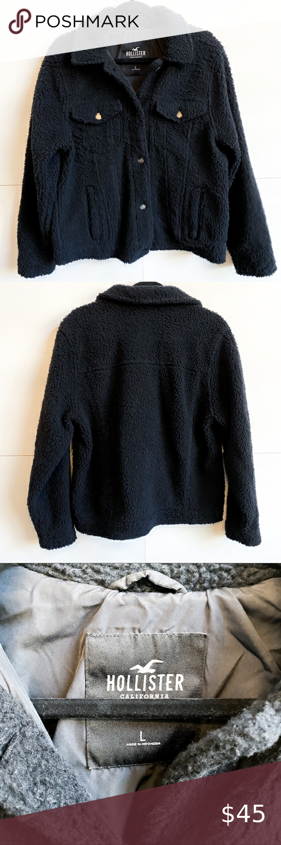 Hollister Black Sherpa Button Up Coat Jacket Fur Hood Jacket Hooded Denim Jacket Hollister Jackets [ 1740 x 580 Pixel ]