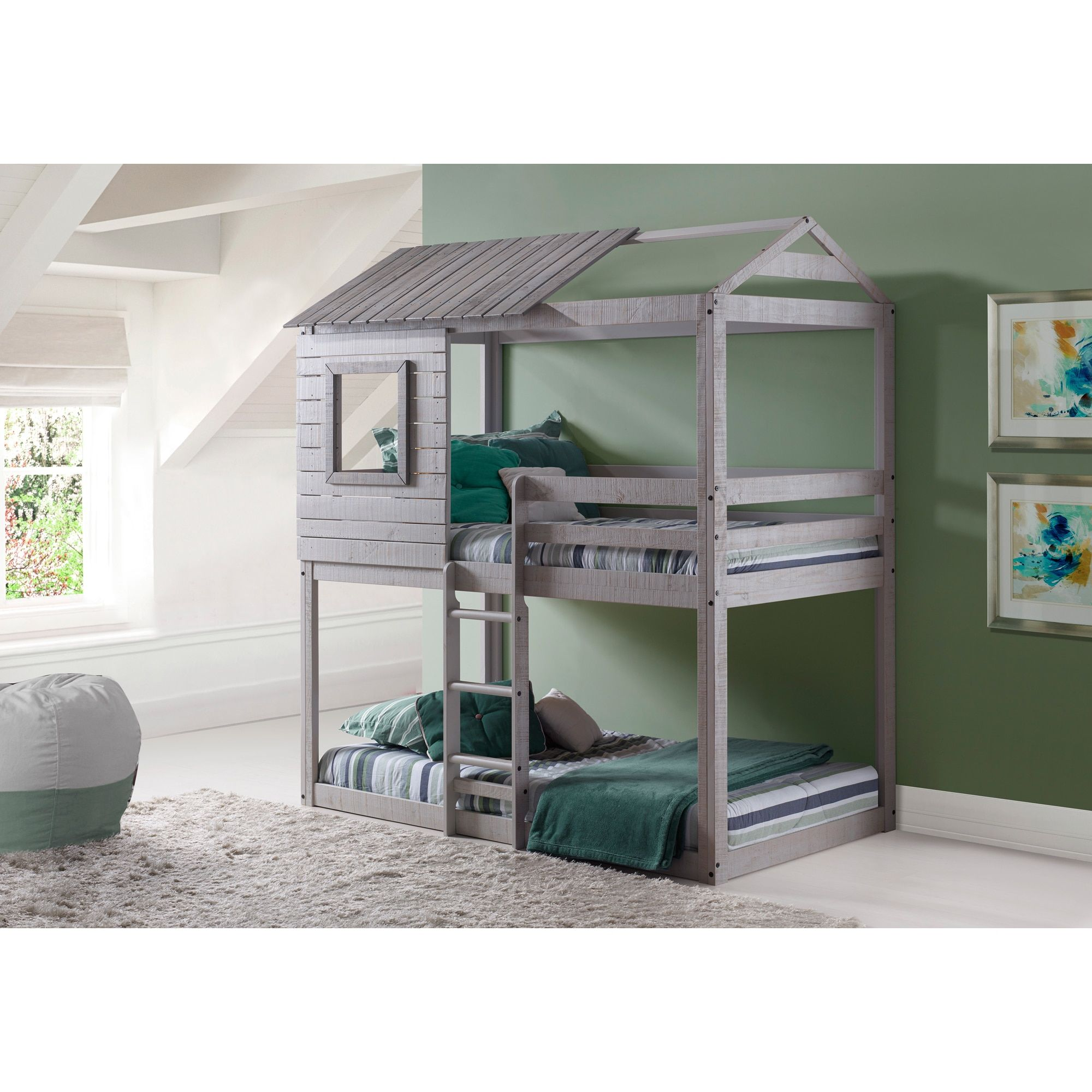 Loft over bedroom  Donco Kids LoftStyle Light Grey Twin over Twin Bunk Bed  Bunk bed