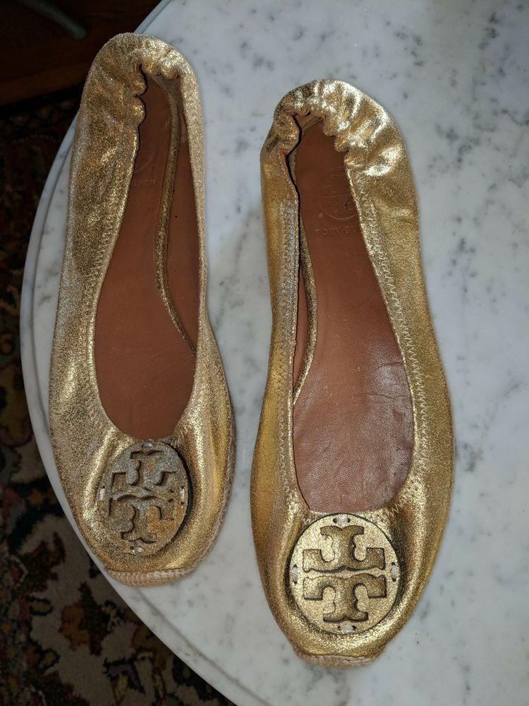 1b0d6a97755 Tory Burch gold ballet flats with elastic heel