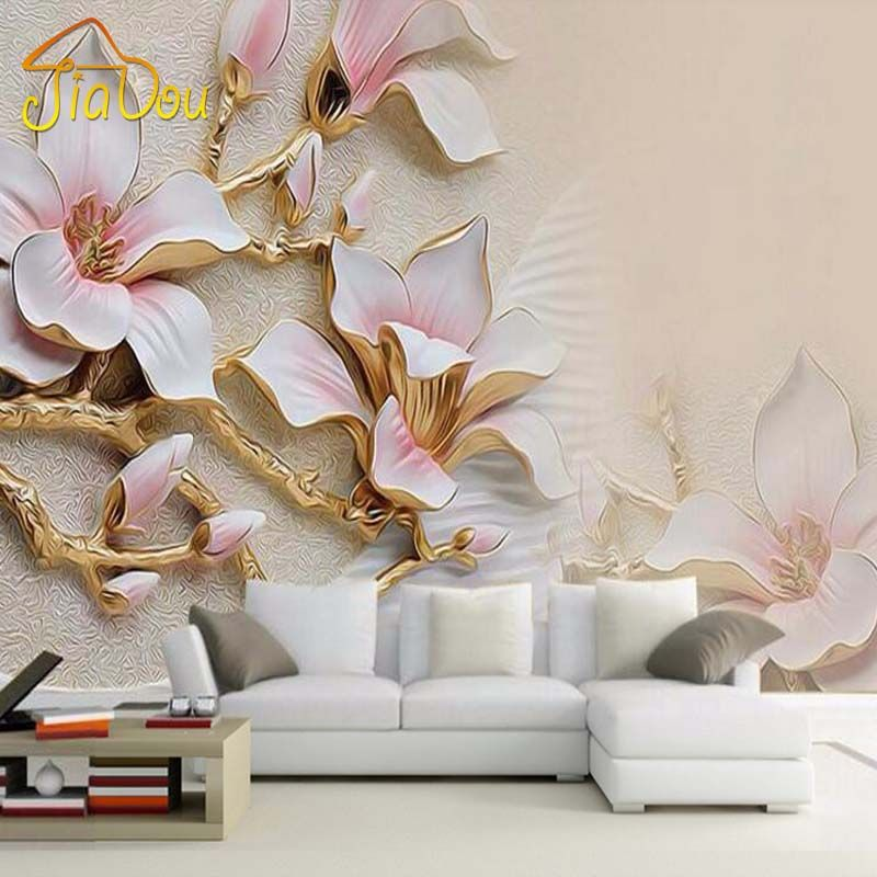 Personnalisé 3D Mural Papier Peint Stéréo Relief Magnolia Fleur Mur
