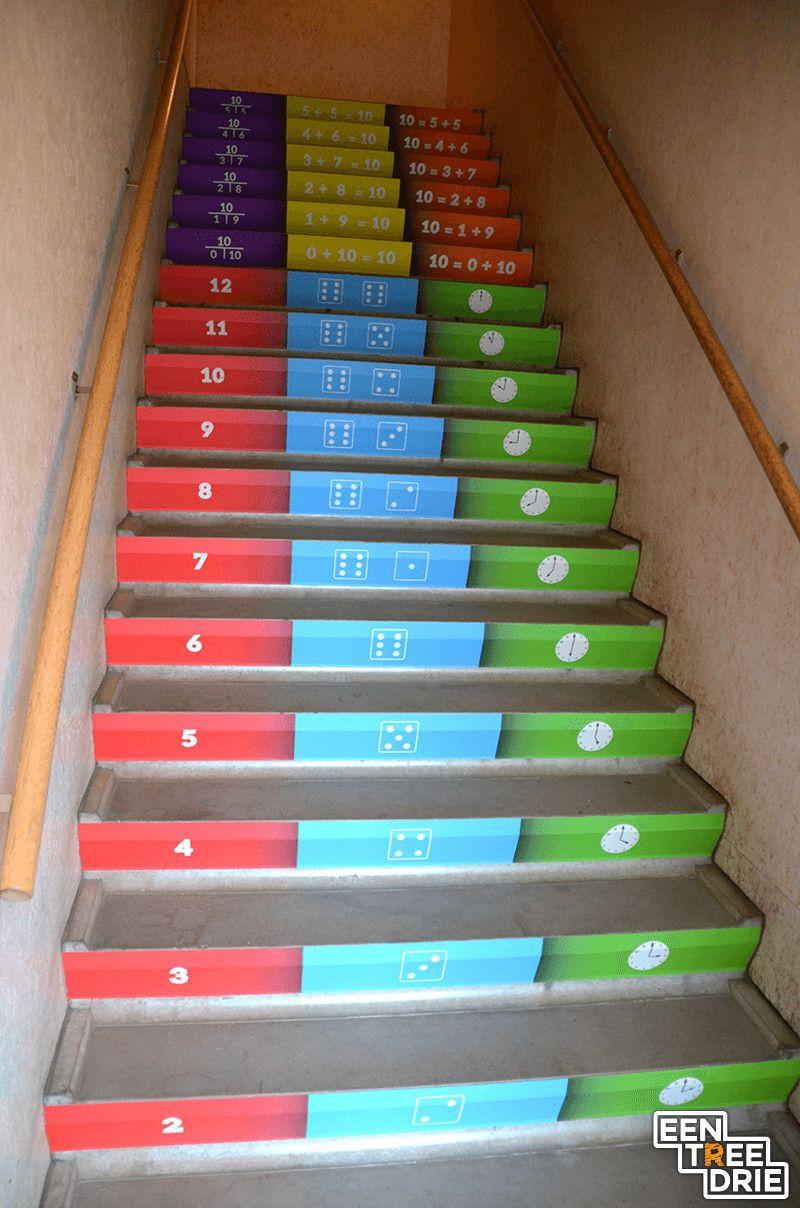 E n tree drie de rekentafels op didactische kleurrijke for Stootborden trap maken