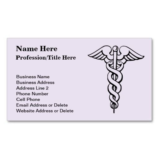 Medical Profession Symbol Caduceus Nursing Business Card - medical business card templates