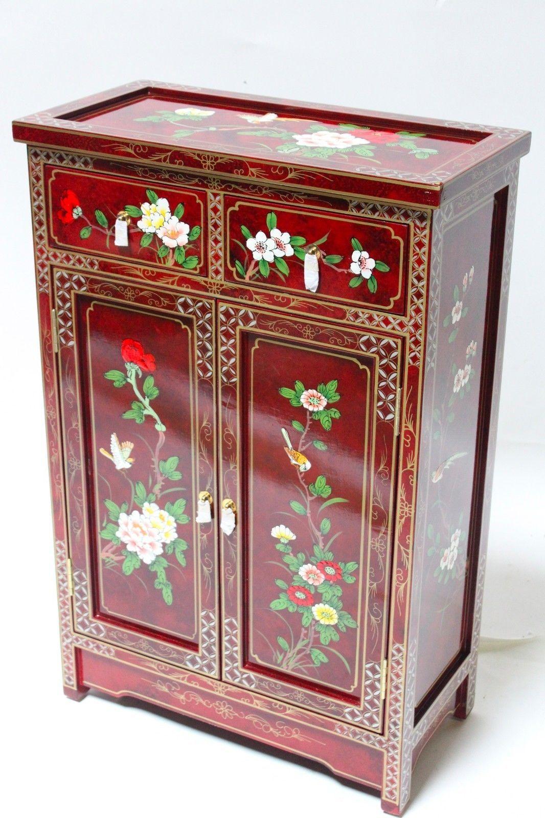 Oriental Cabinet Chinese Cupboards Oriental Credenza Burgund Lacquer Cabinet  | EBay