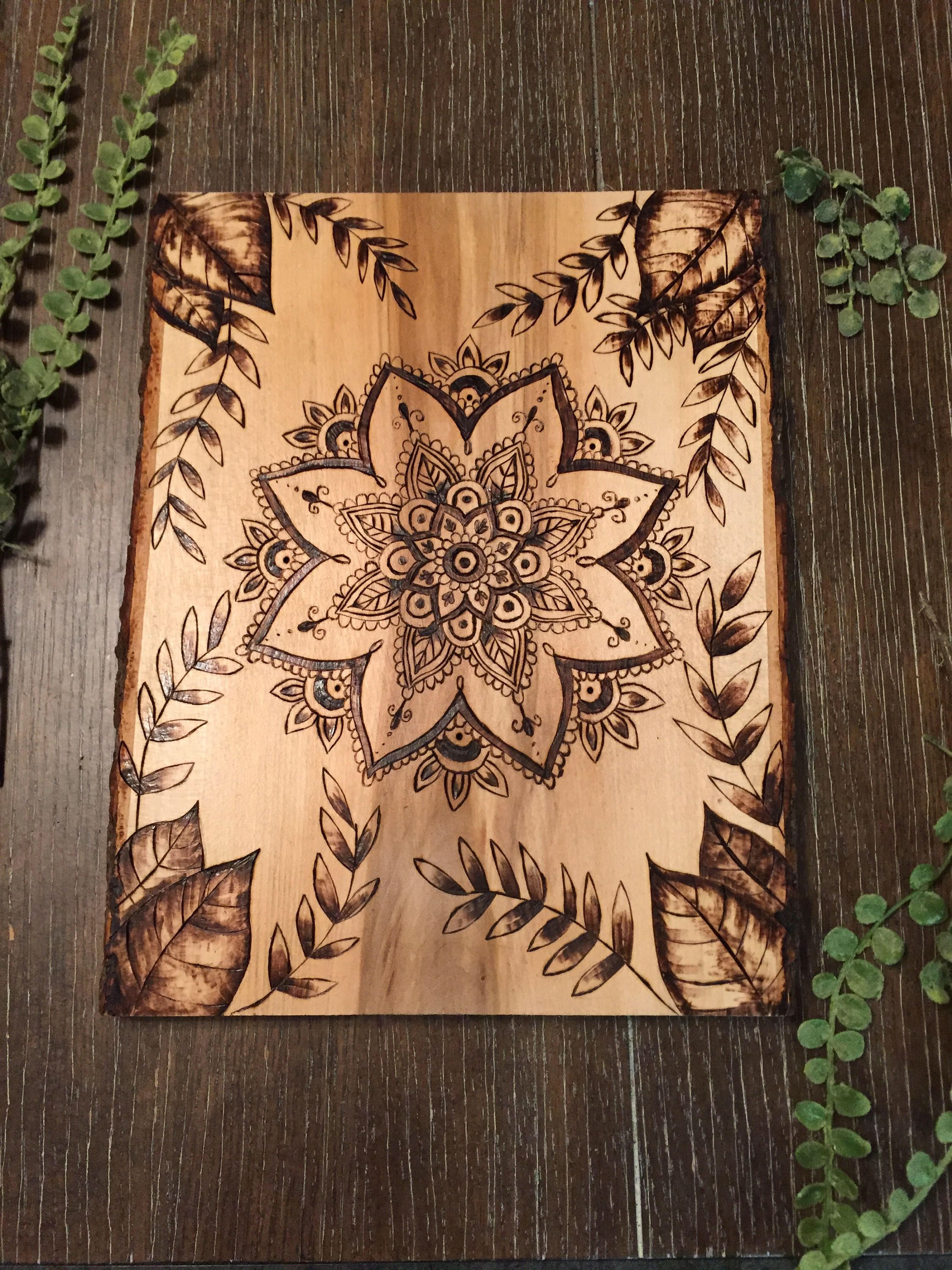 mandala wood burning art, pyrography leaves | holz brennen
