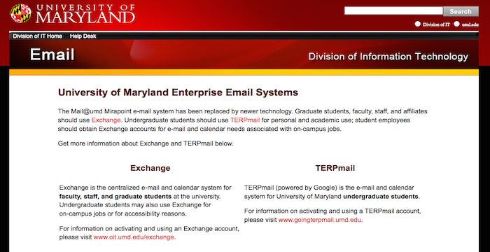 Umd Email Login Page Url With Images Email Service Login Page