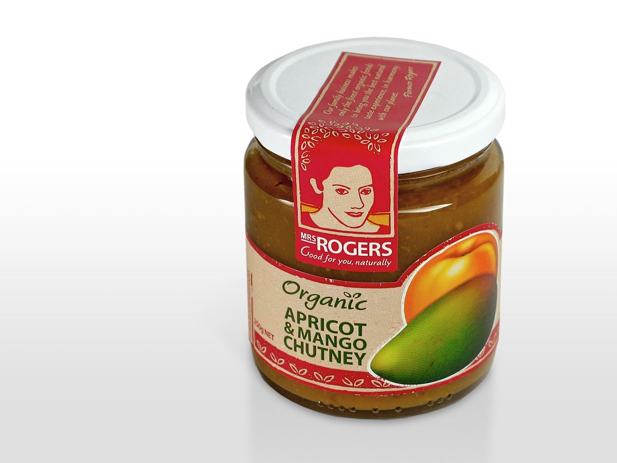 Mrs Rogers organic chutney packaging