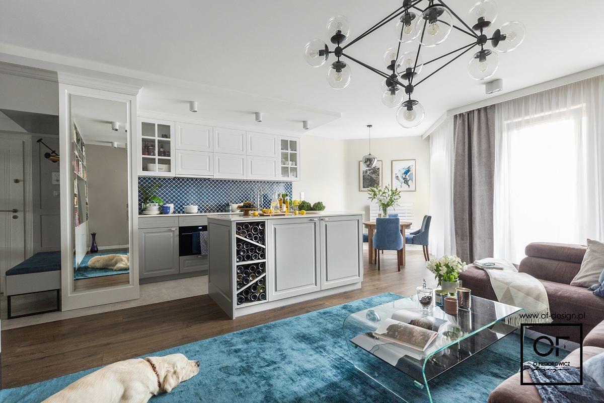 Salon Z Aneksem Kuchennym W Stylu Eklektycznym Home Design Home Decor