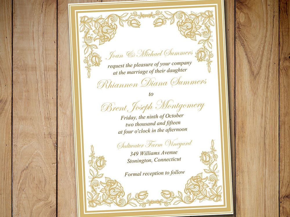 Printable Wedding Invitation Template - Gold \