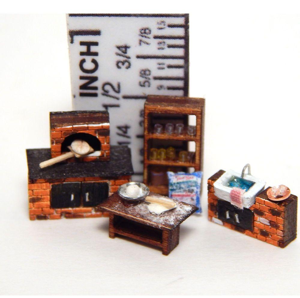 1 144th Scale Dollhouse Miniature Brick Oven Rustic Bread Kitchen