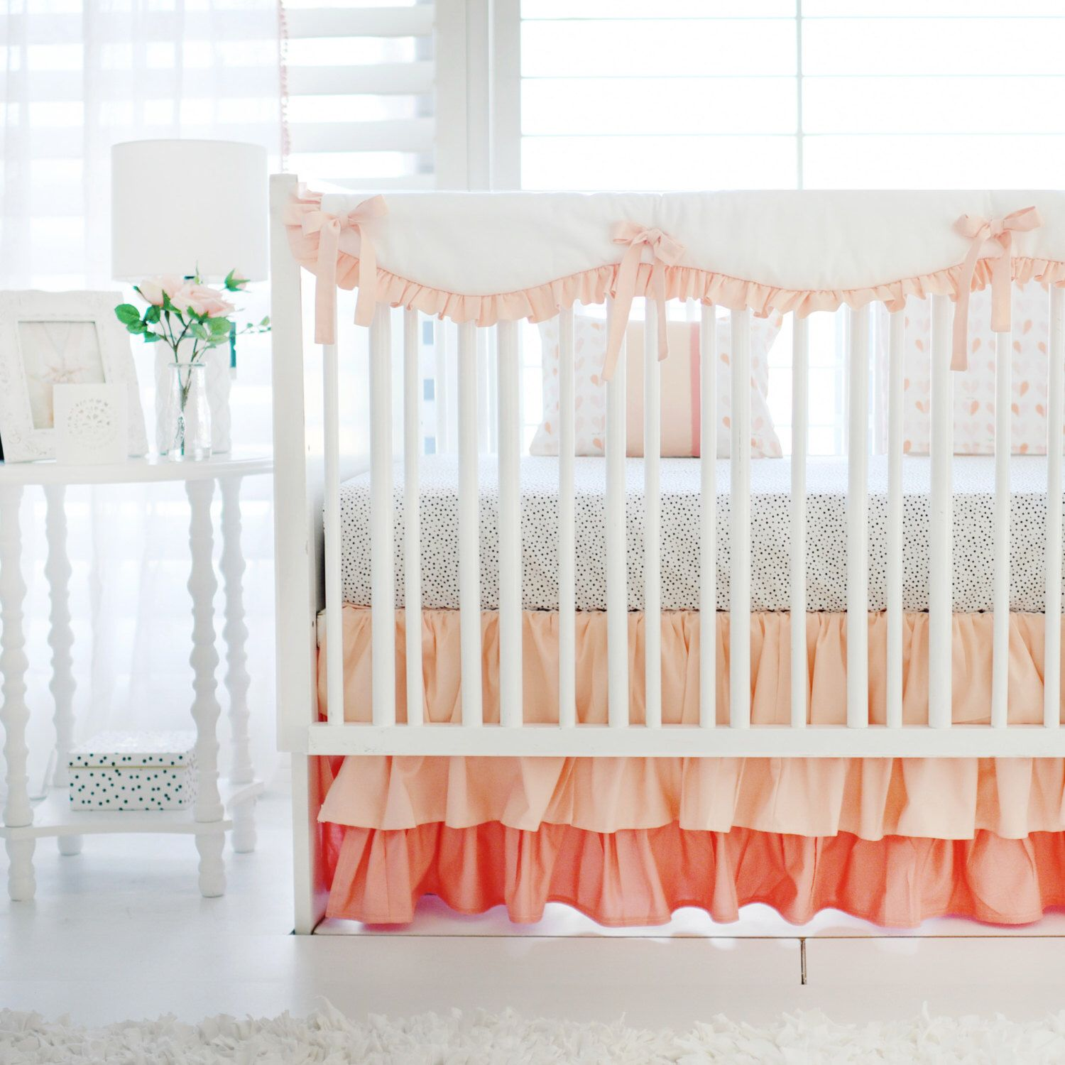 bedding a in lace personal floral pin mint etsy set coral s listing favorite baby peach cribs my crib from shop com and