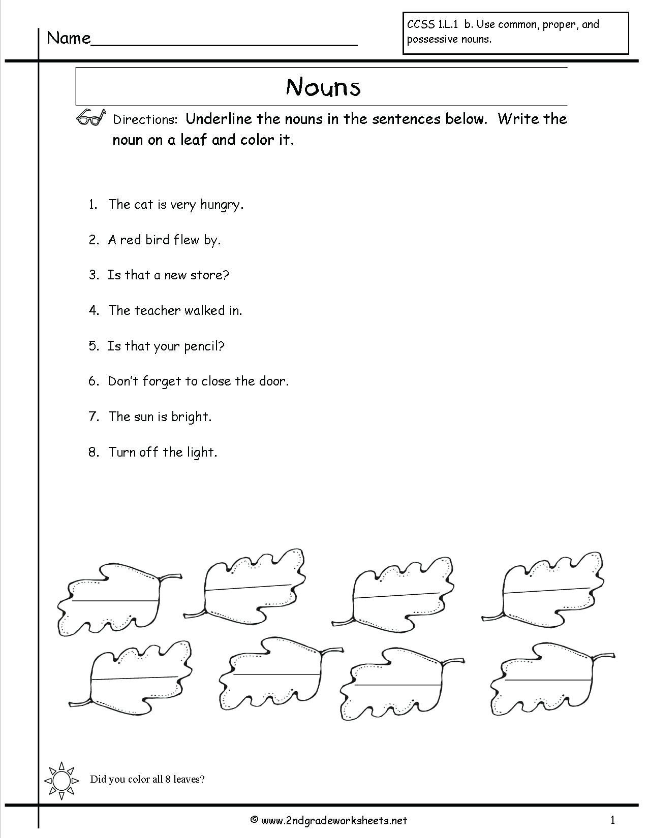 Second Grade Pronouns Worksheet In