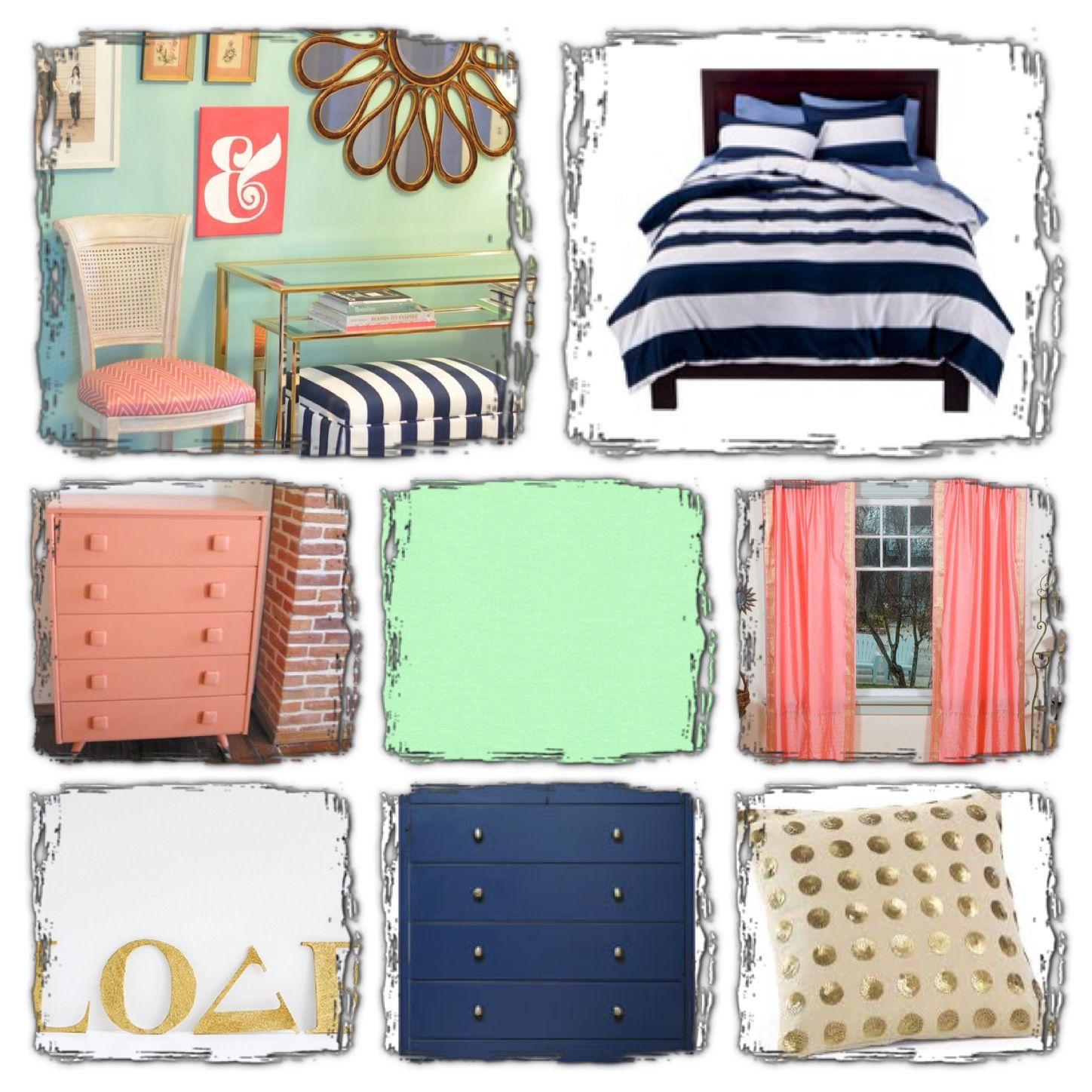 Peach Mint And Navy... Updated Bedroom Board:)