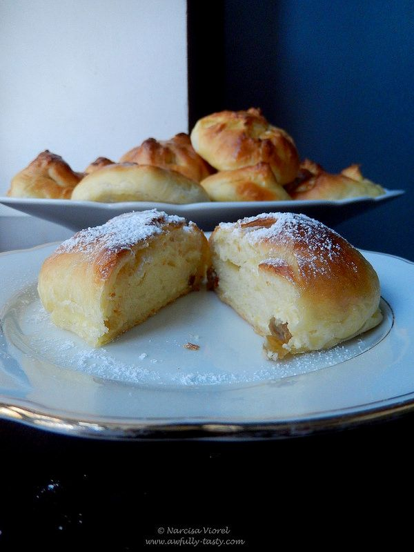 Poale-n brau.  Traditional Romanian dessert, sweet yeasted dough filled with cheese and raisins.
