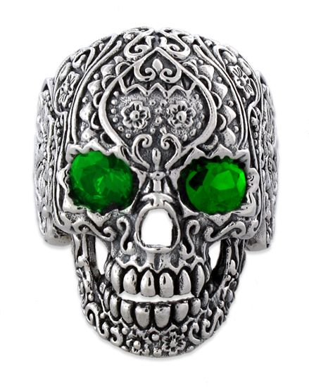 cdc03e18f510e Sterling Silver Garden Skull Ring with CZ Emerald Eyes | Colombia ...