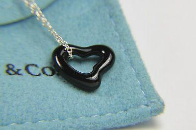 Tiffany co elsa peretti black jade open heart pendant necklace 925 tiffany co elsa peretti black jade open heart pendant necklace 925 16 in chain aloadofball Images