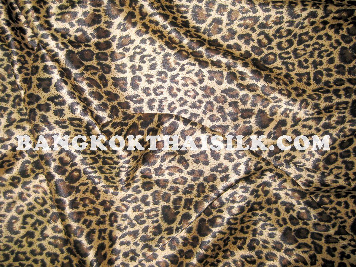 6 YDS Cheetah Leopard Animal Print Gold Brown Faux Silk Satin 48