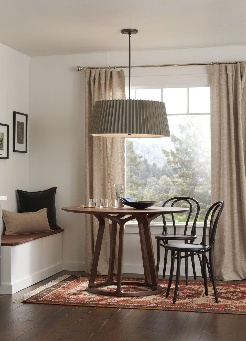 Dining Room Lighting. Pleated Light Shade. Vintage Inspired Lighting. Gray Light  Shade. Dining Room.