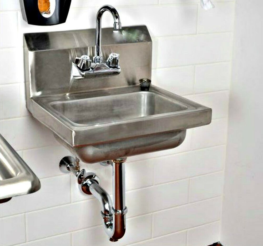 Wall Mount Kitchen Sink 17 X 15 Stainless Steel With Free Faucet