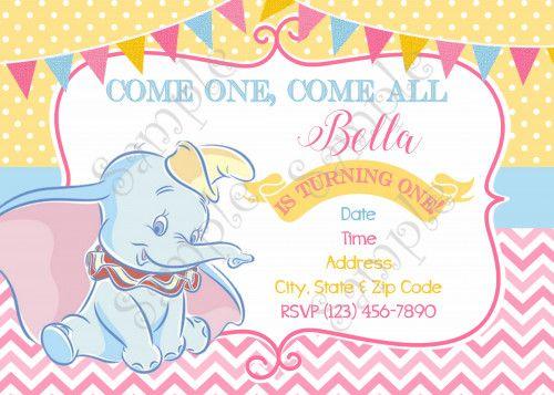 Dumbo Invitation, Disney Dumbo Birthday Invitation