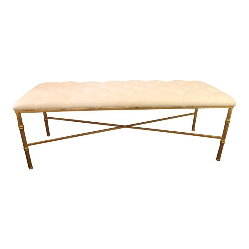 Worlds Away White Tufted Leatherette Gold Faux Bamboo Bench Faux Bamboo Bamboo Bench