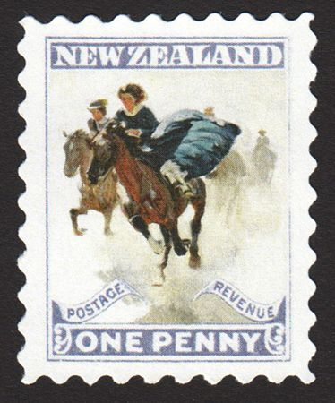 The New Zealand one-penny celebrated those who rode well side-saddle, as pictured by Harold von Schmidt.