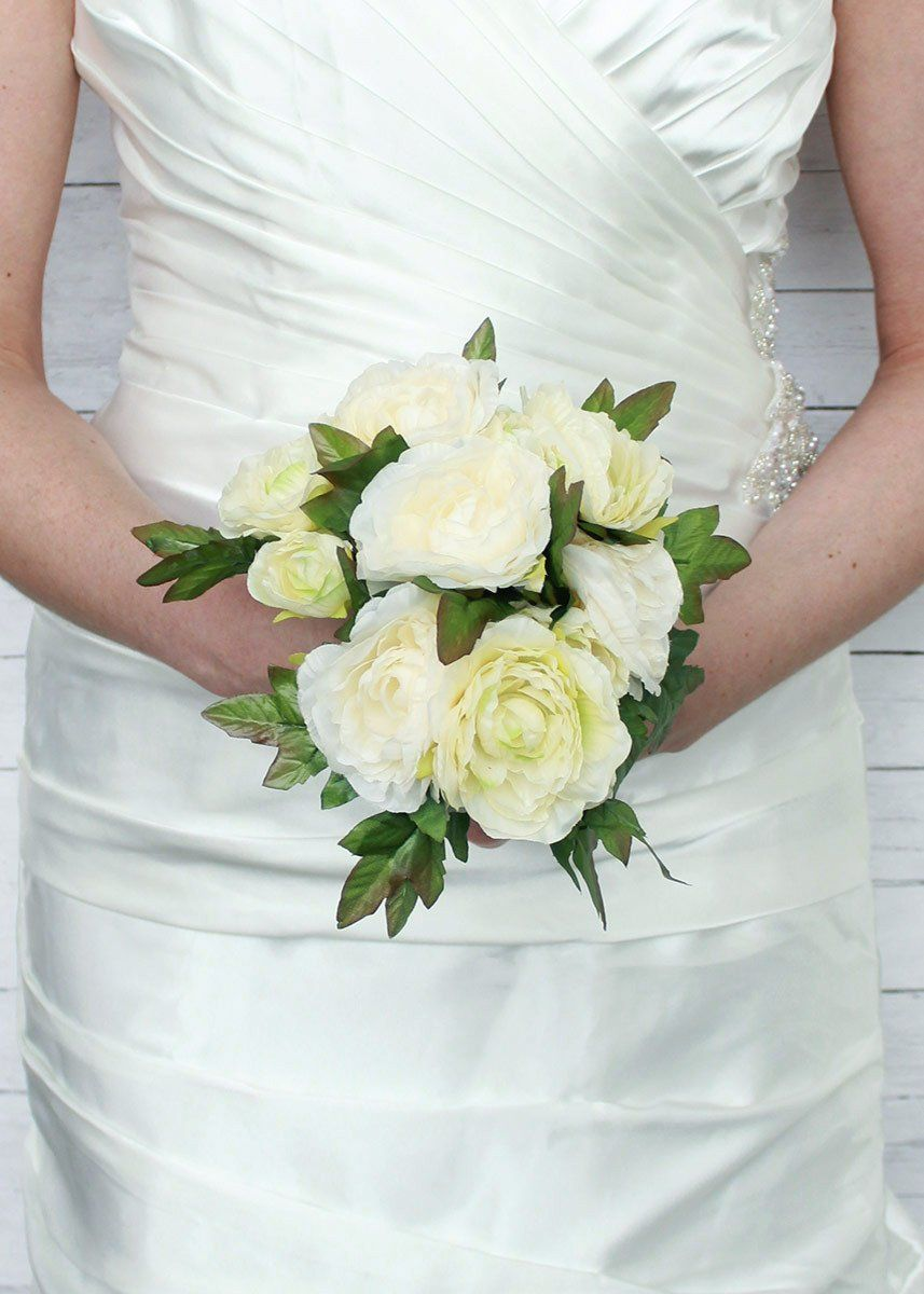 Ranunculus Silk Wedding Bouquet In Cream Green Br 6 5 Tall Diy