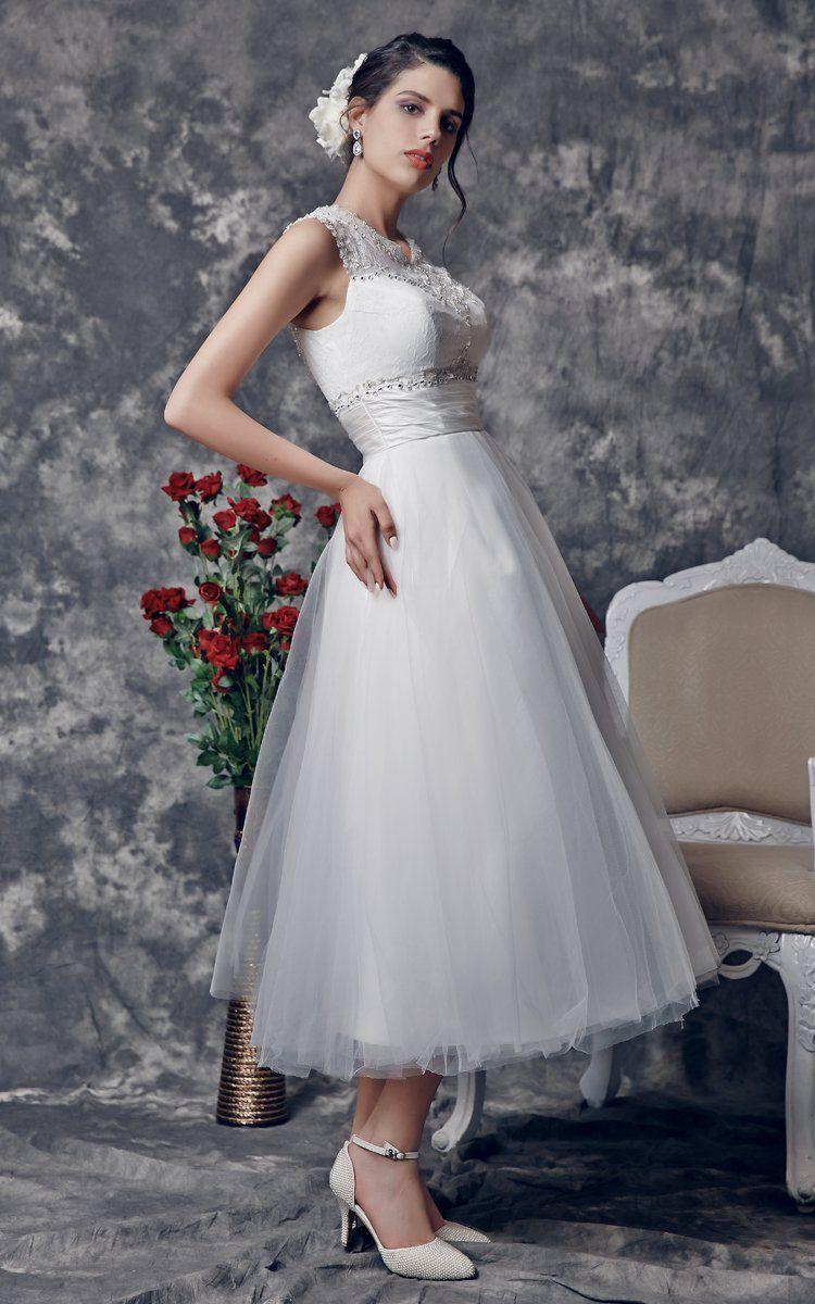 Wedding dresses tea length  Vintage TeaLength Wedding Dress with Illusion BackZP