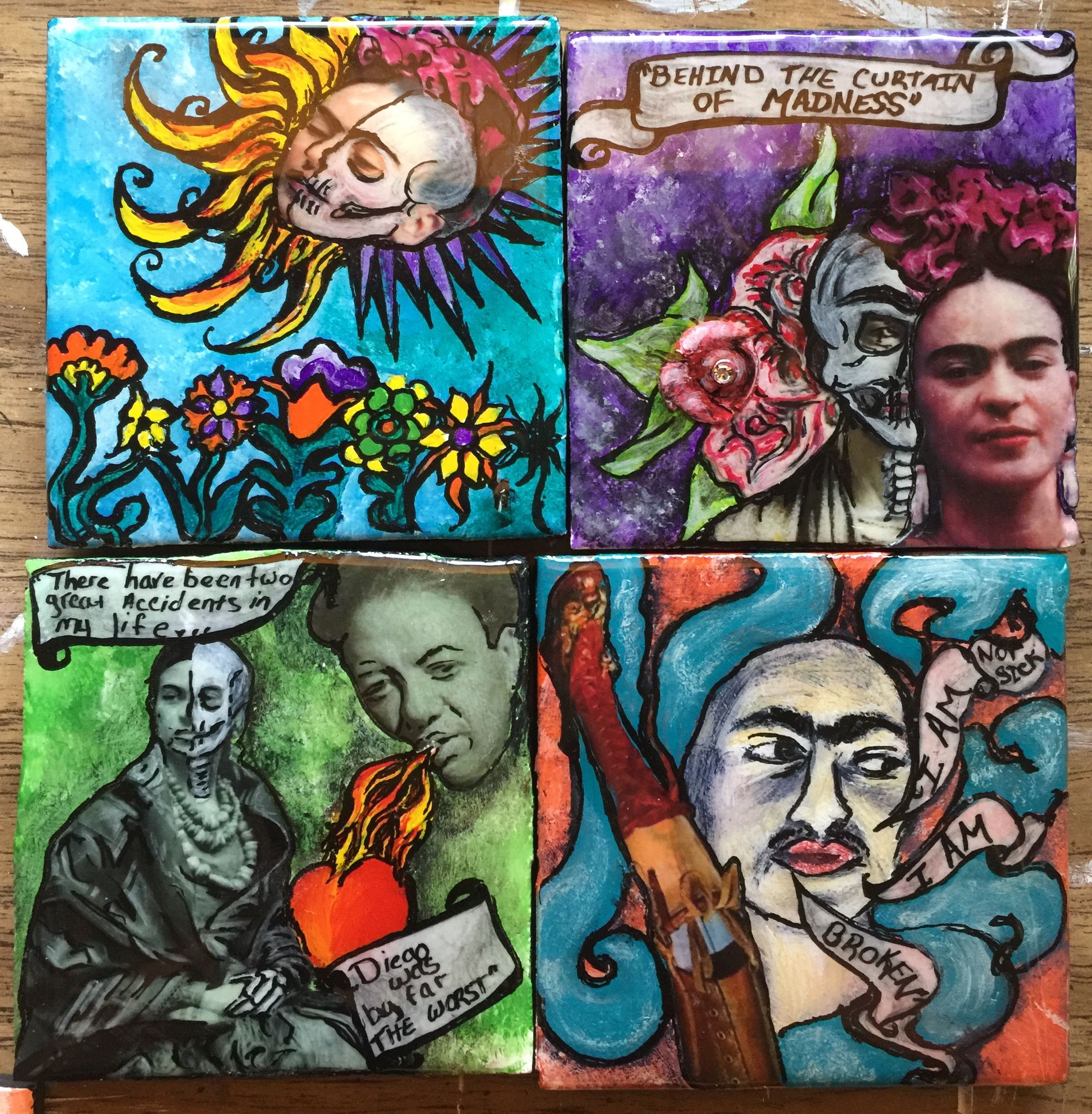 Ceramic coasters set frida kahlo mexican painted tiles by stacie ceramic coasters set frida kahlo mexican painted tiles by stacie sanchez retablos dailygadgetfo Images
