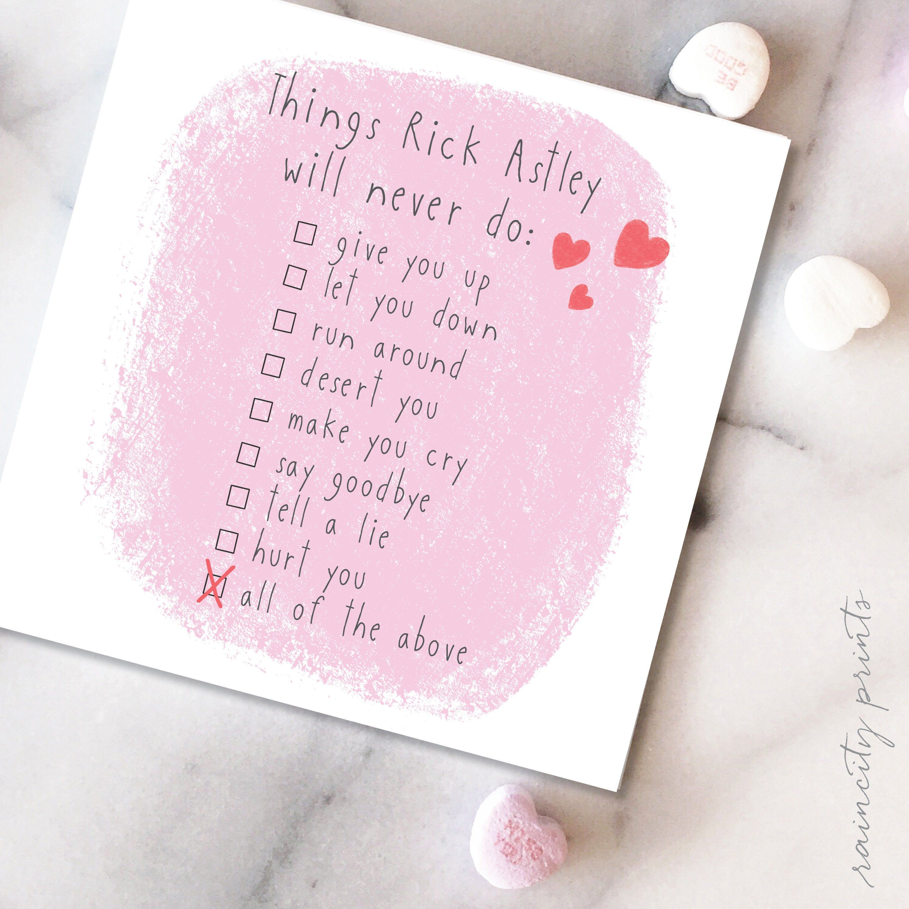 Rick Astley Never Gonna Give You Up Valentines Day Card Funny Etsy Funny Love Cards Rick Astley Give You Up