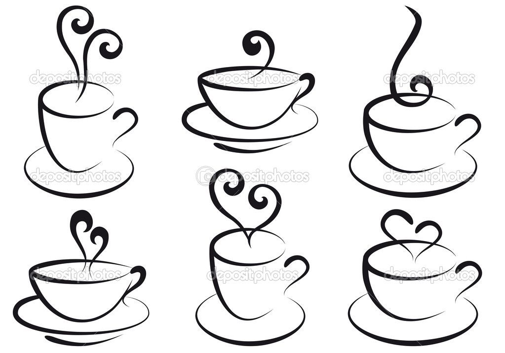 how to draw coffee and tea cups