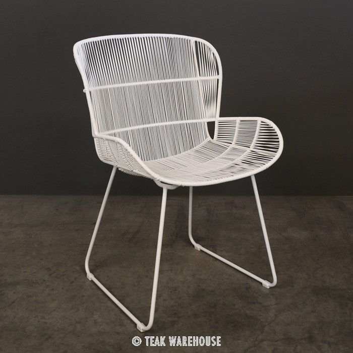 Outdoor Dining Chairs Arm Chair, White Patio Dining Chairs