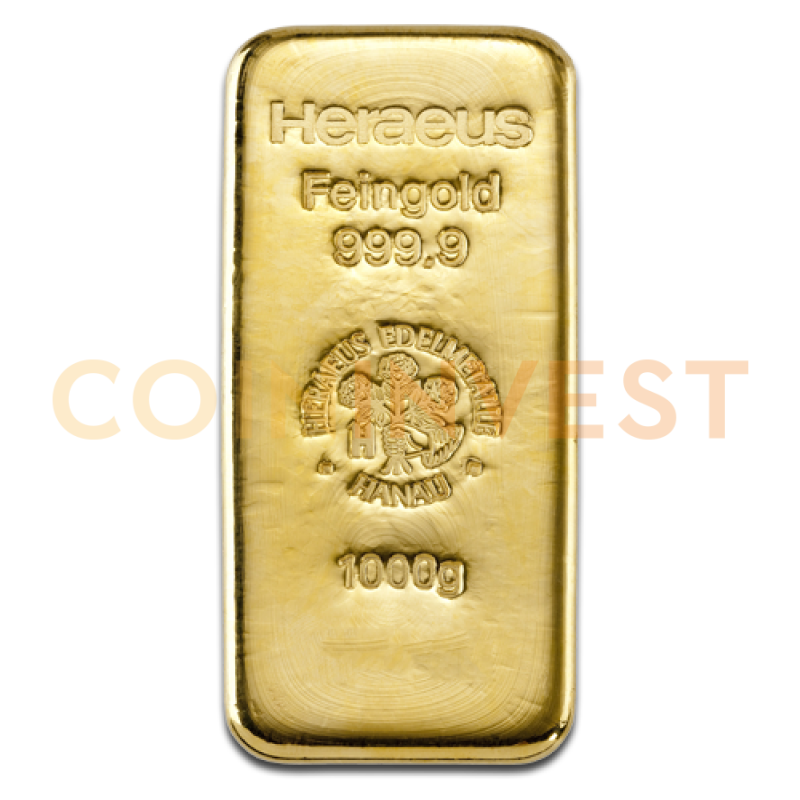1 Kilo Gold Bar Heraeus Coininvest Gold Bullion Bars Gold Coins Gold Bullion