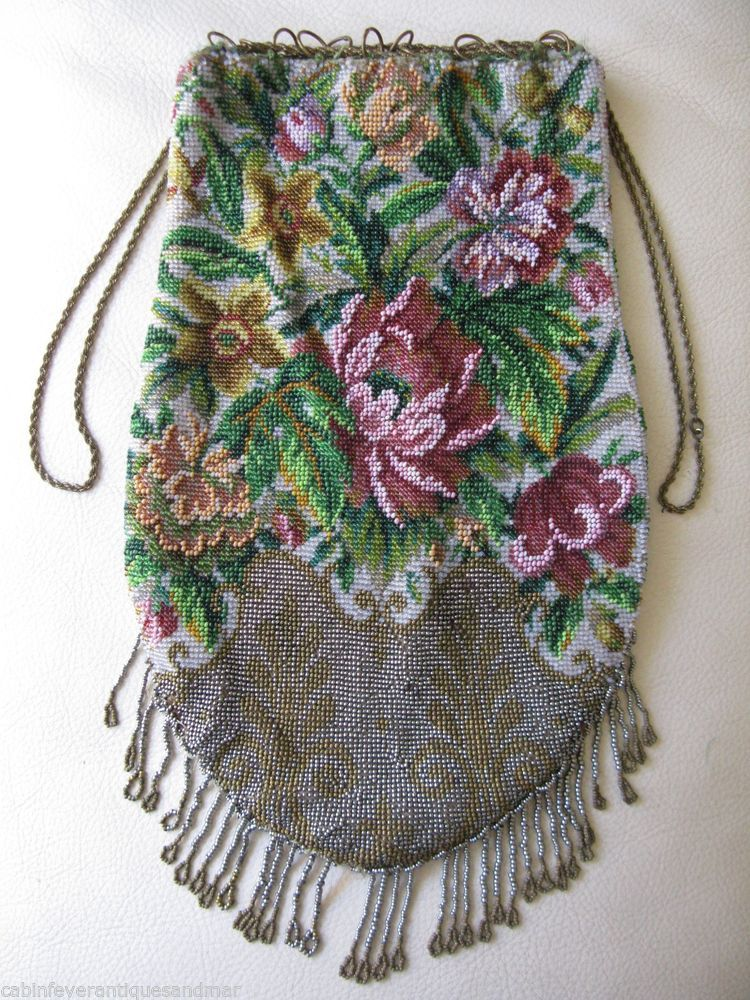 Antique Victorian Edwardian Drawstring Crochet Steel & Pink Floral Bead Purse #EveningBag