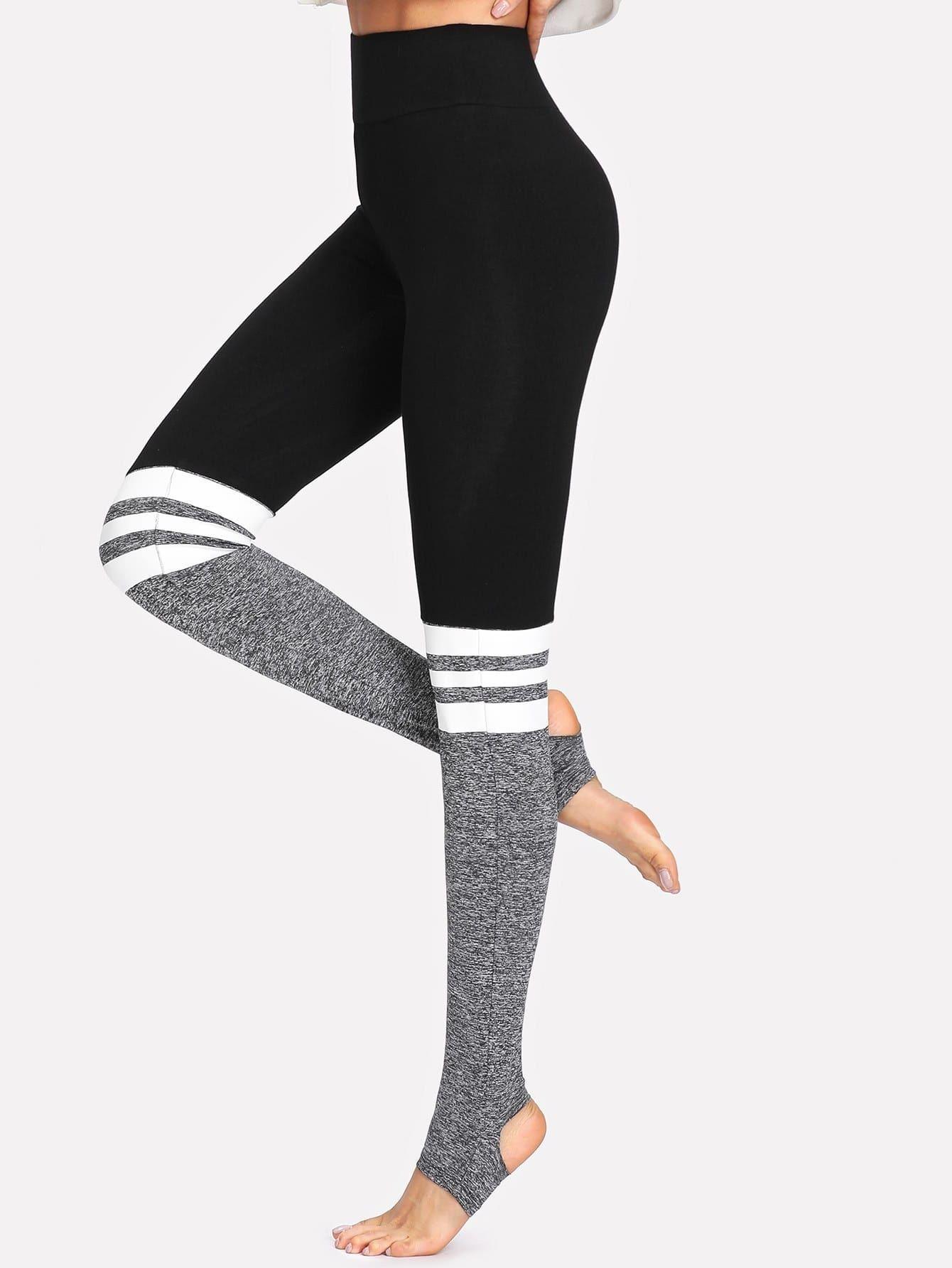 Damen Fitness Leggings Leggins Trainings Jogging Sport Gym Tights Hose Farbblock