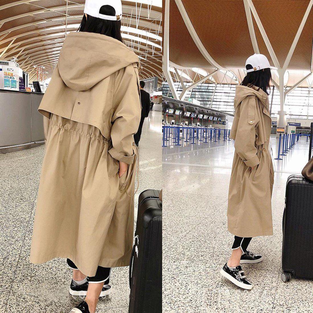 Manteau pour femme en coton décontracté Trench à capuche X-long en vrac Outwear surdimensionné pour l'automne   – Fashion & style 4
