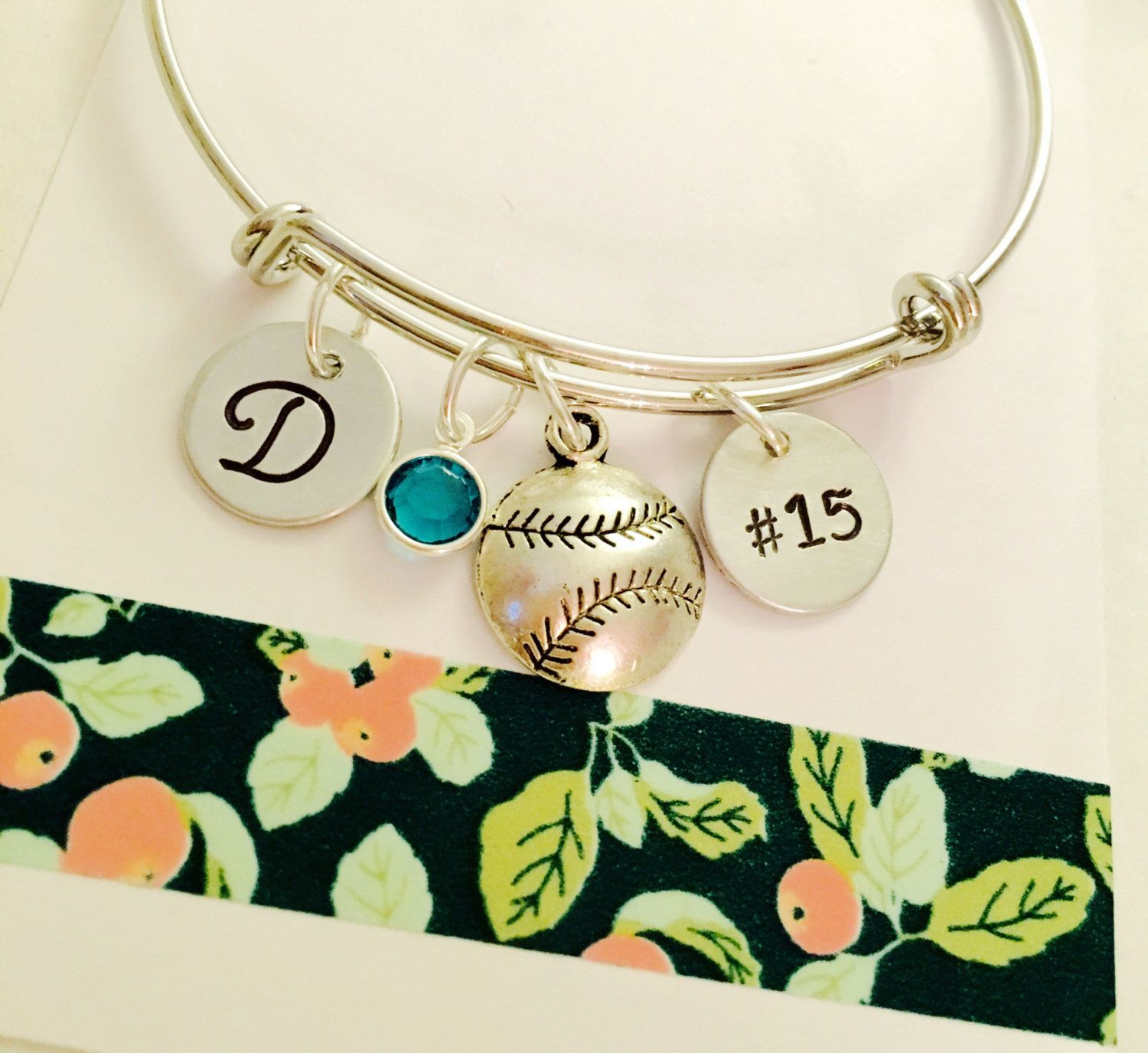 adjustable softball bangles pin name bracelet personalized girls bangle