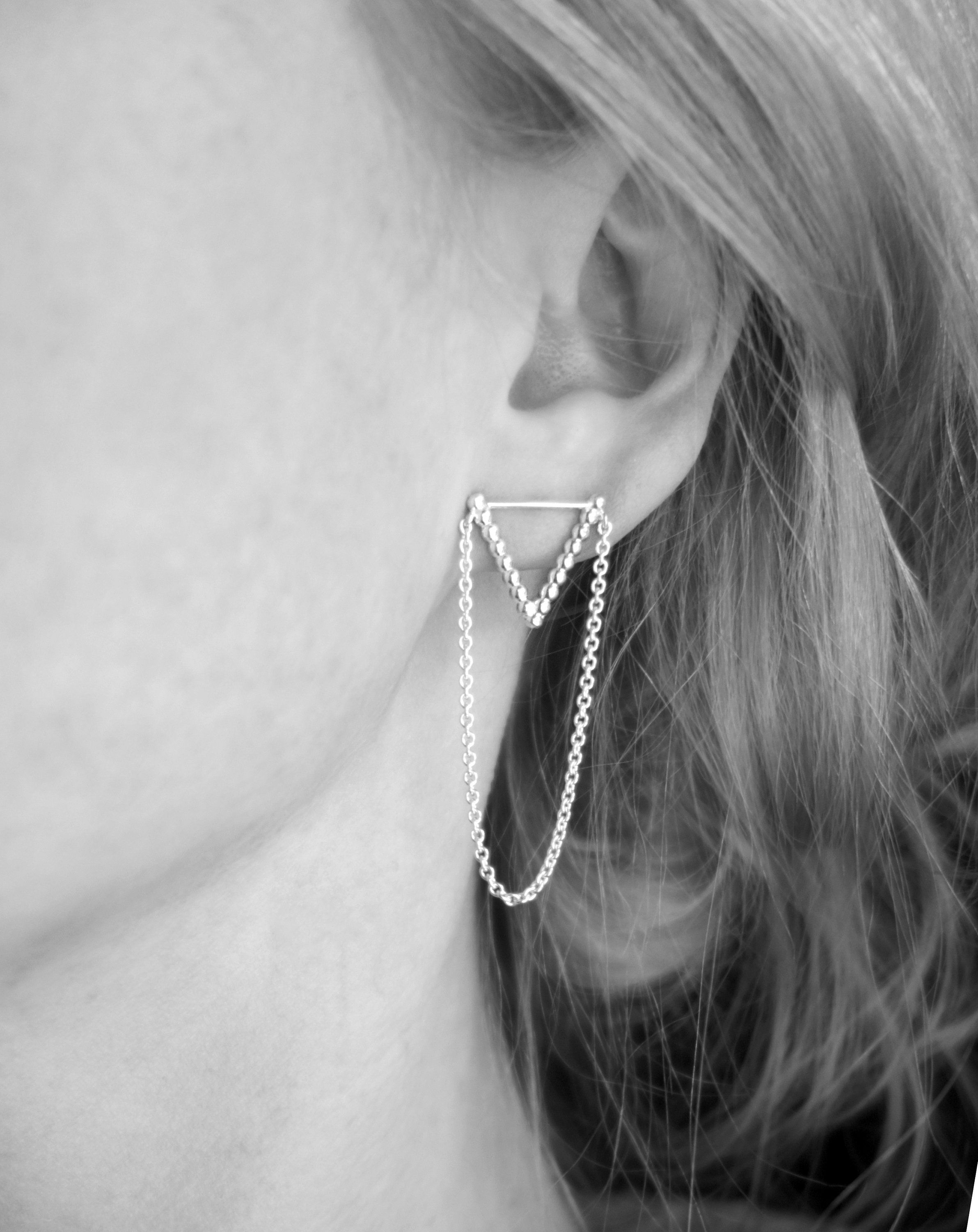 Hammered Silver Chain Bar Earrings Solid Sterling Long Drop