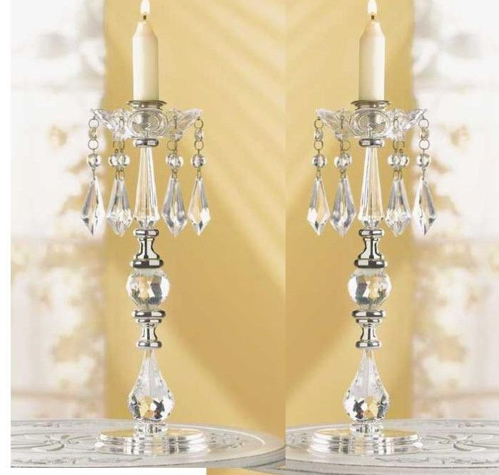 2 Lot Crystal Beaded Chandelier Taper Candle Holder Wedding Centerpiece Pair