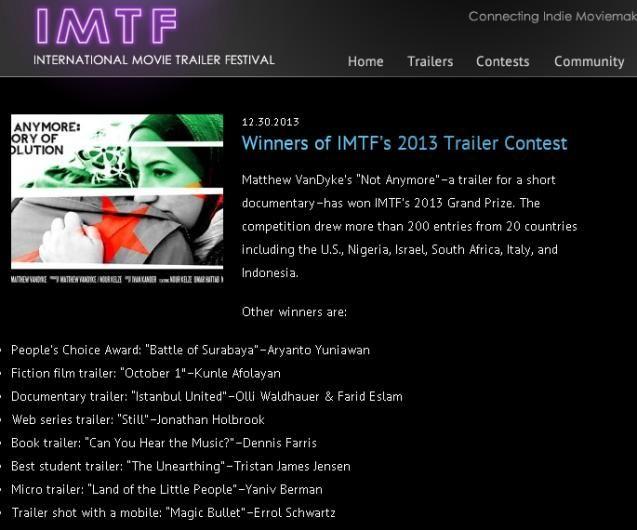 Battle Of Surabaya, Juara Peoples Choice Award di International Movie Trailer Festival 2013 - STMIK AMIKOM Yogyakarta .
