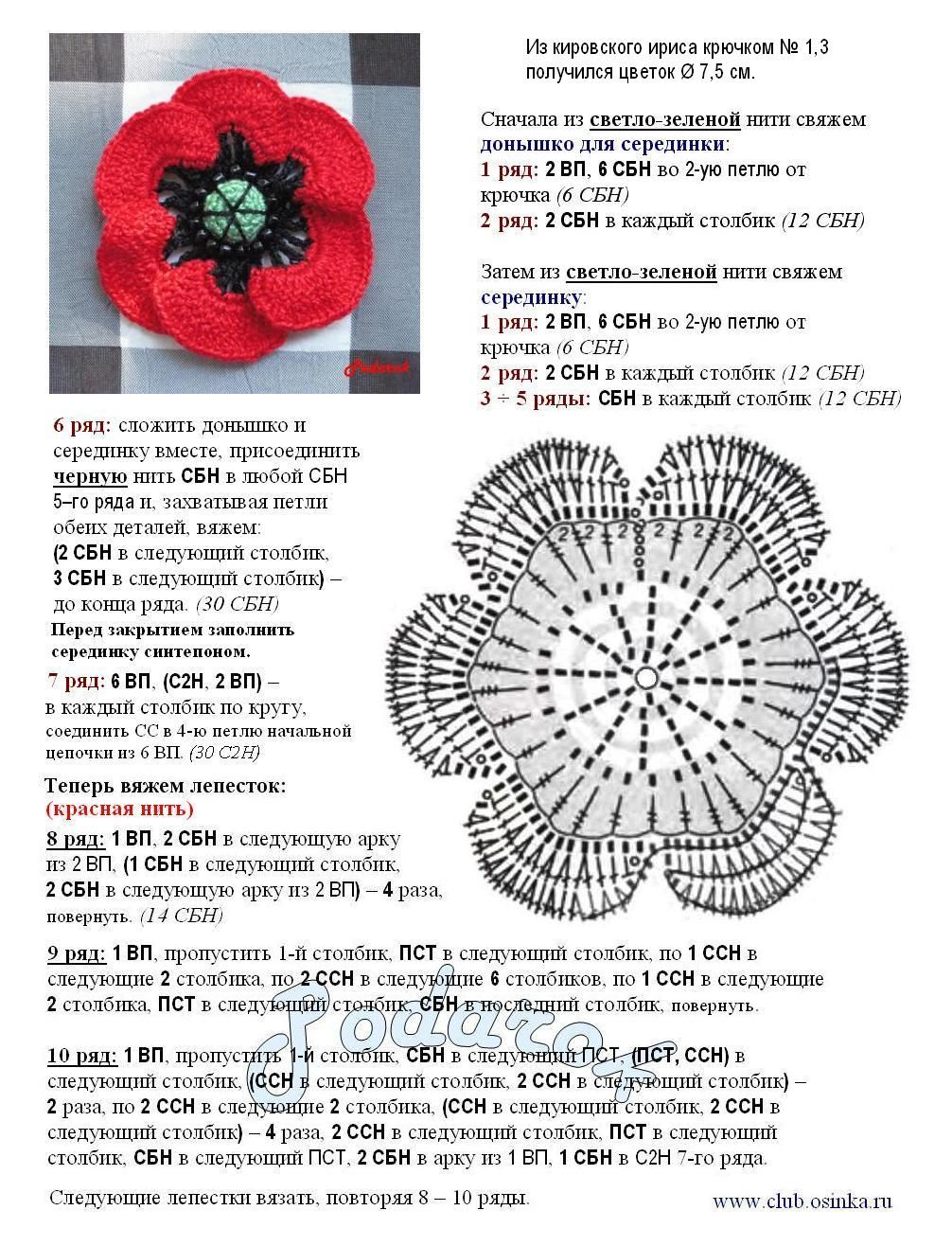 Another red flower with diagram | crochets | Pinterest | Flores ...
